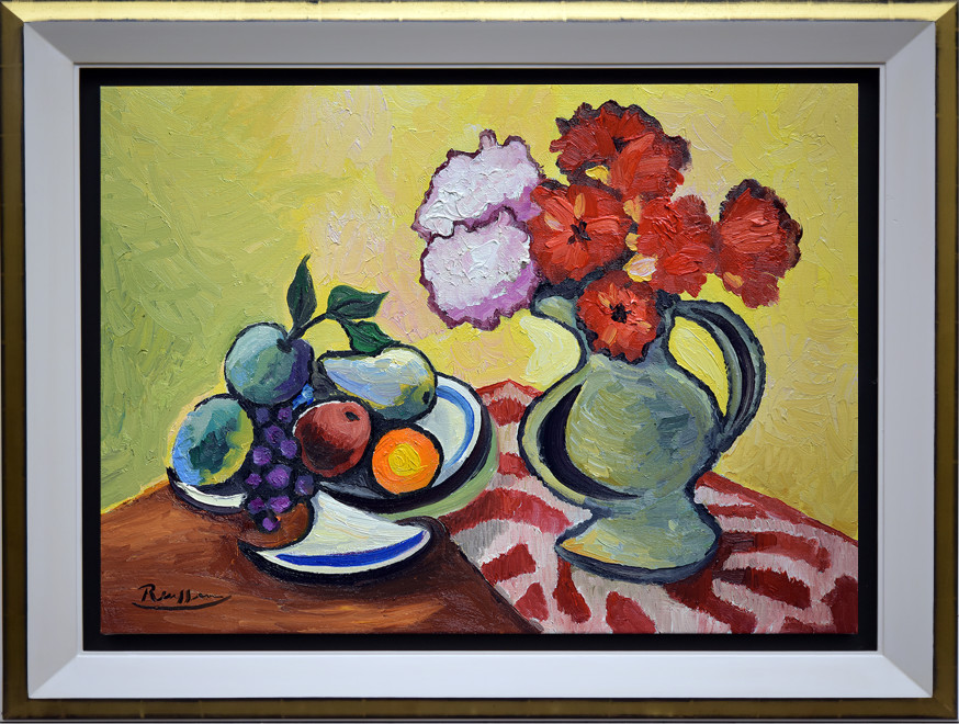 Pitcher with fruit and flowers on a table