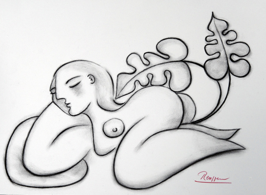 Reclining nude on a pillow II
