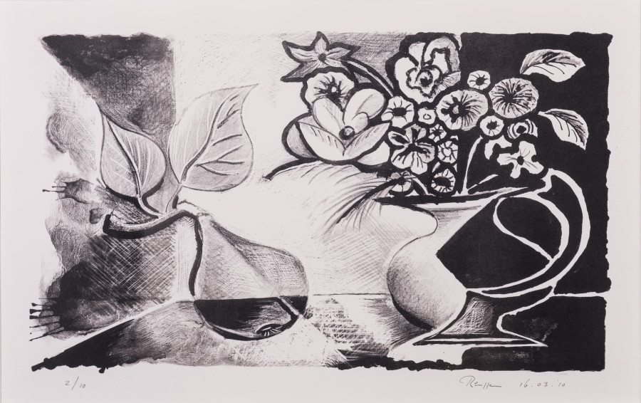 Still life with pear and flowers