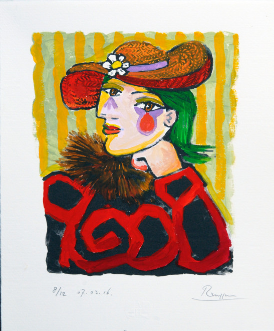 Woman in a straw hat with flower 3, (IV)