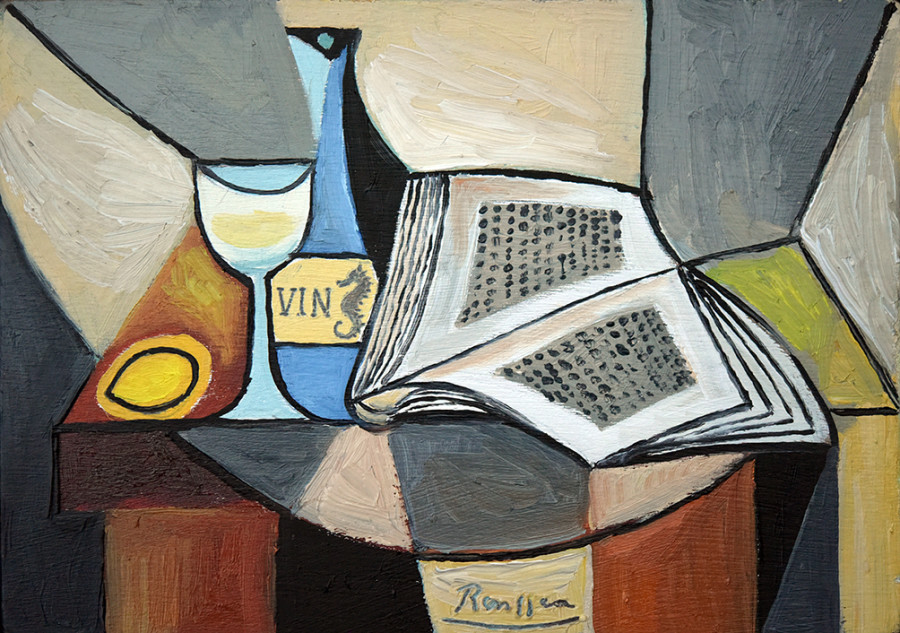 Book, bottle, glass and lemon on a table