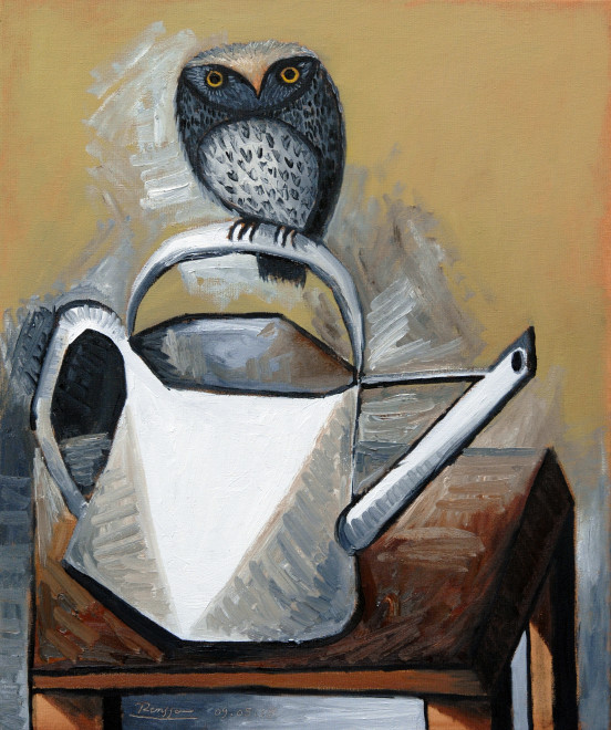 Small owl on a watering can | edition of 10
