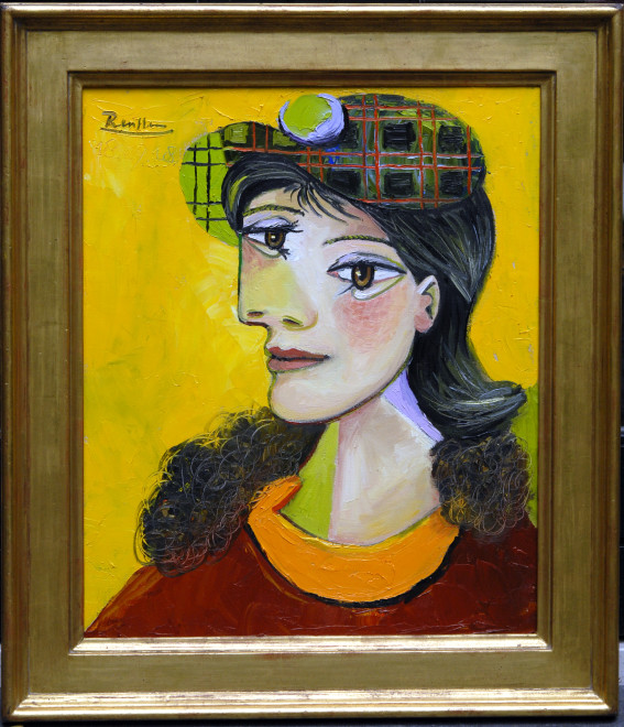 Woman in a checkered beret
