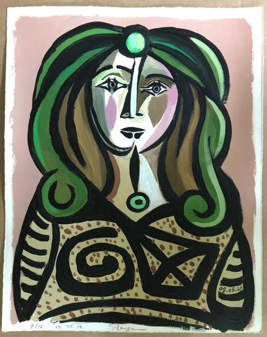 Woman with green hair (III)