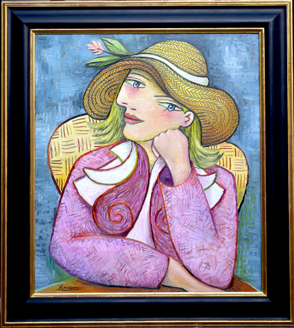 Seated woman in a straw hat