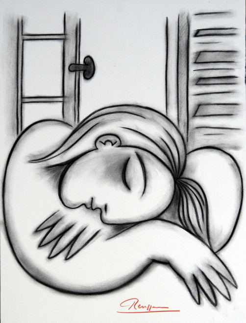 Sleeping girl in front of a window