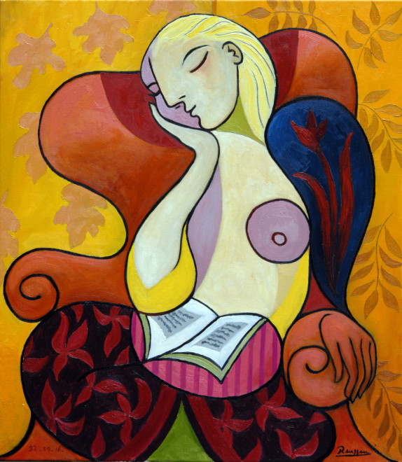 Woman in an orange chair