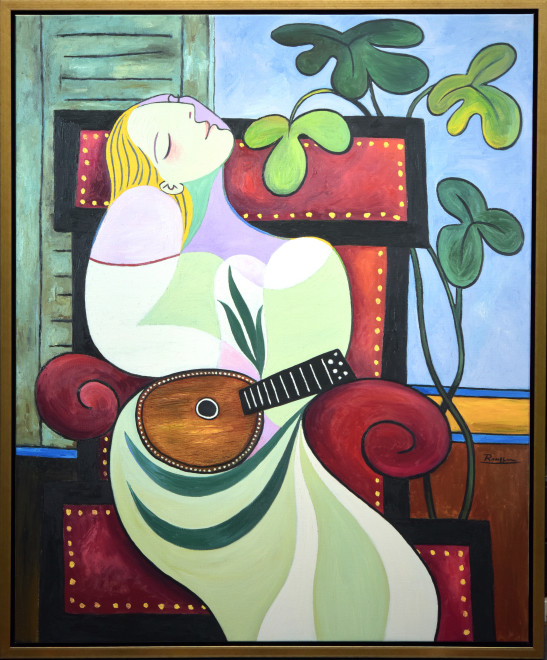 Dreaming woman with mandolin | edition of 10