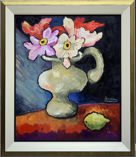 M / Pitcher with flowers and lemon on a table