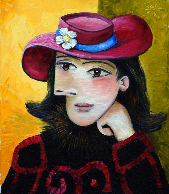 Woman in a dark pink hat