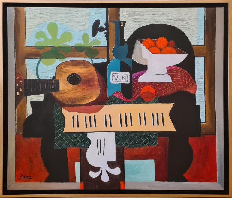 Guitar, bottle and oranges on a piano | edition of 10