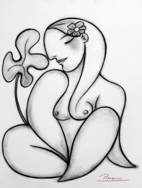 Nude with flower in her hair
