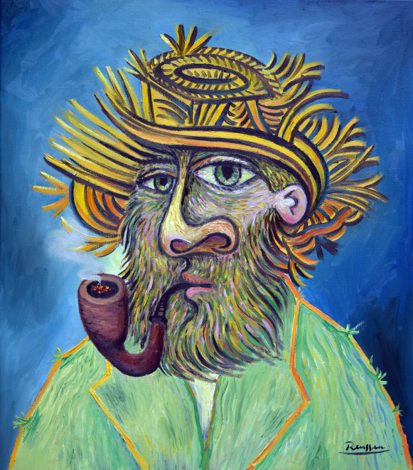 Man with pipe in a straw hat