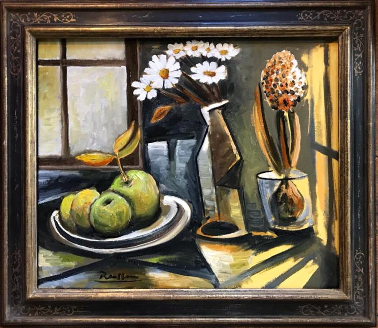 Apples and flowers in front of a window