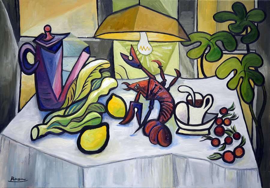 Lobster and coffeepot on a table