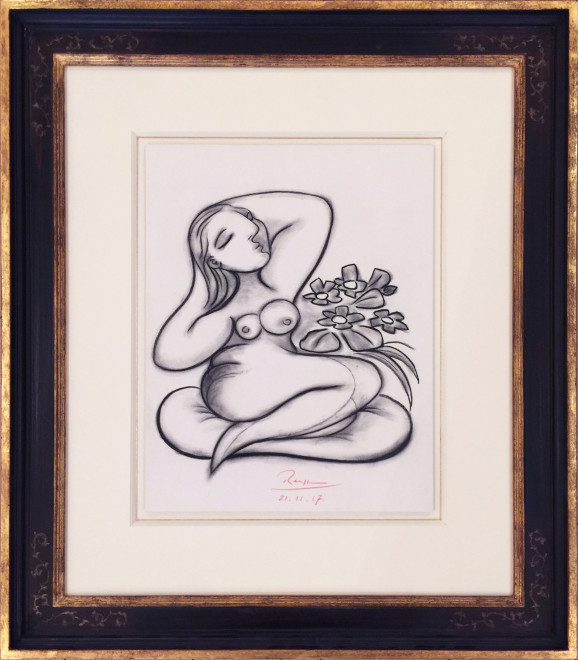 Seated nude with flowers