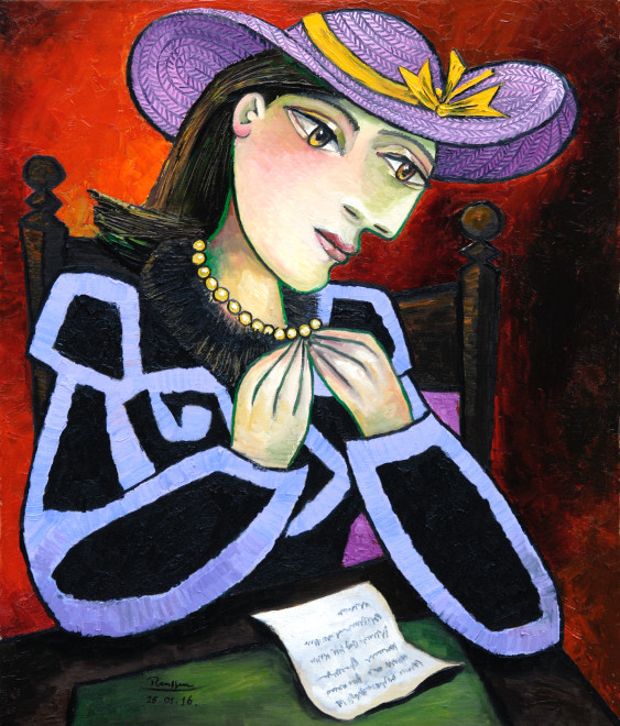 L / Seated woman reading a letter
