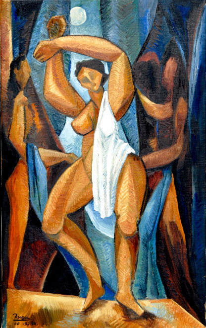 Standing nude with drapery and figures