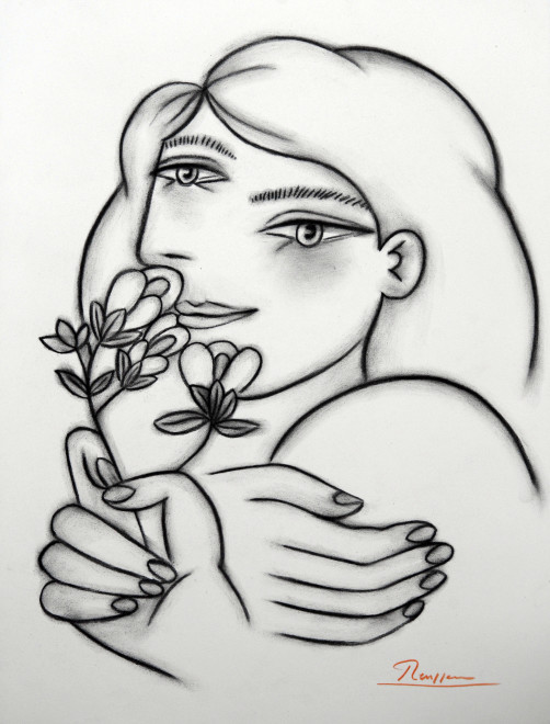 Girl with oleander flower