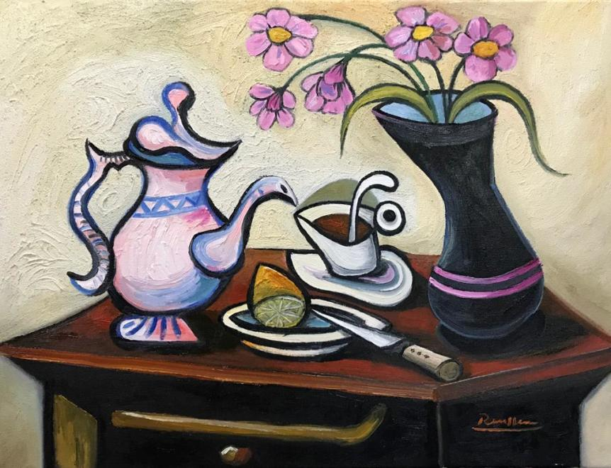 Coffee pot, lemon and vase with flowers
