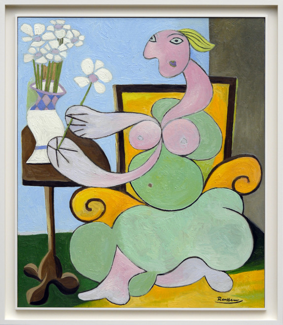 Woman putting flowers in vase