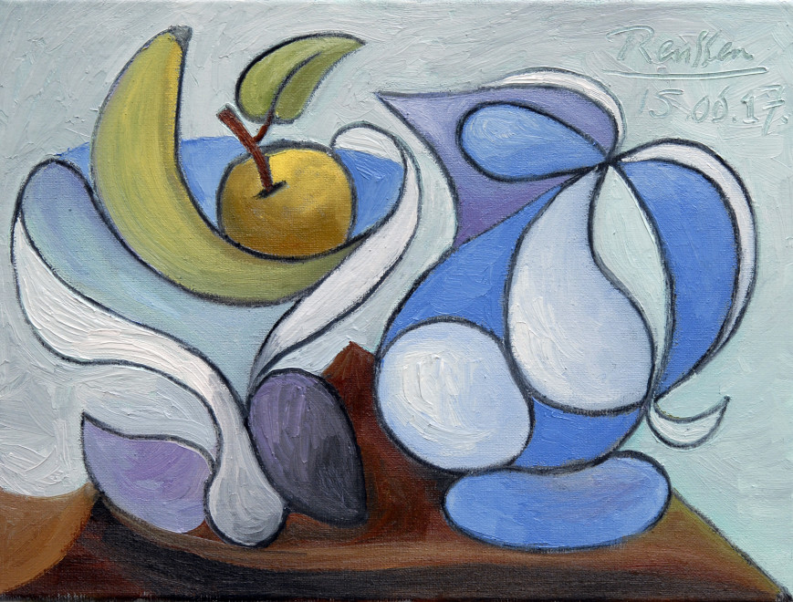 Still life with pitcher and fruit bowl
