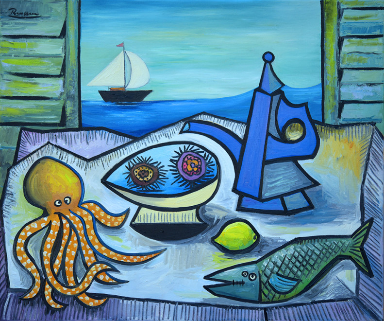 Still life with octopus, urchins, fish and coffee pot
