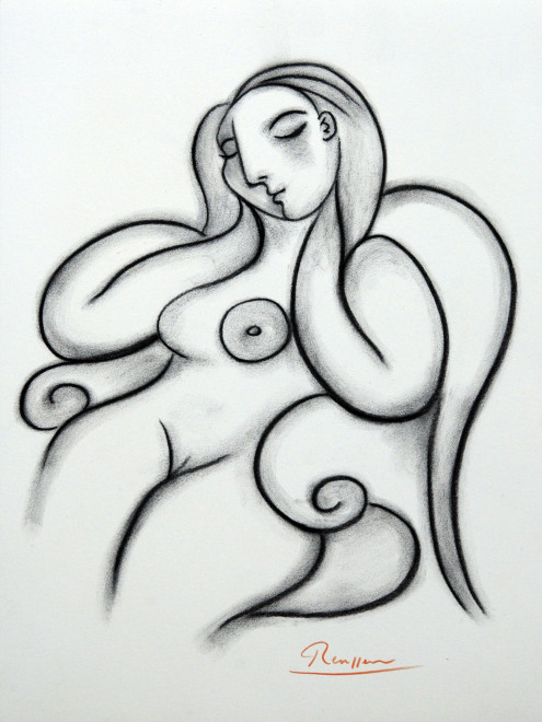 Seated  nude dozing of