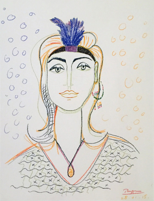 Woman with a feather headband