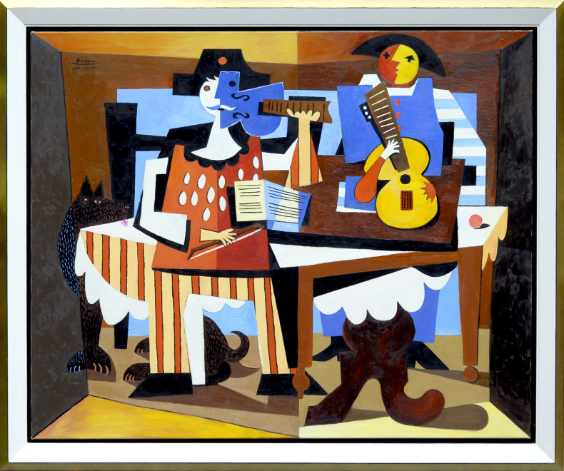 Two musicians and a dog