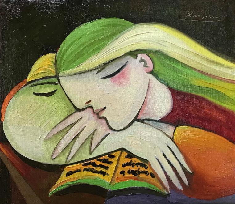Girl leaning on a book