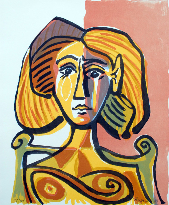 Woman in a wooden chair