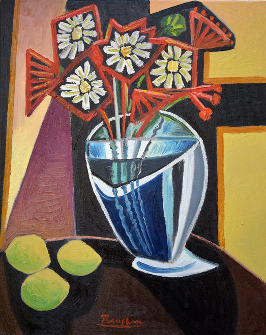 Flowers in a vase and three lemons