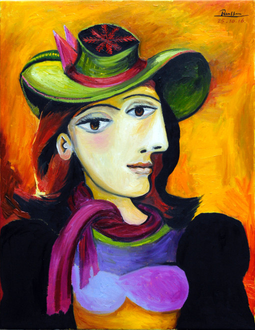Woman in a green hat with red scarf