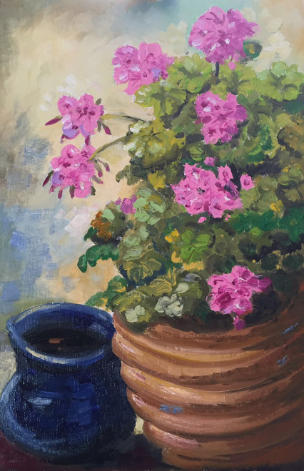 Geraniums in a crockery pot