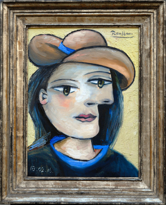 Woman in a brown hat
