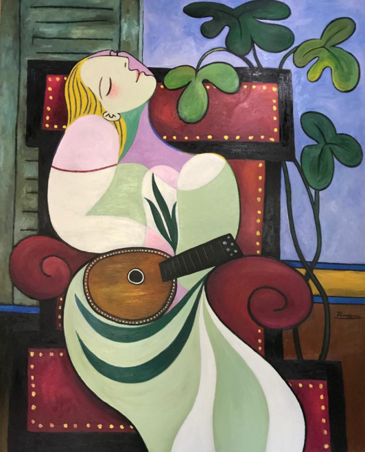 Dreaming woman with mandolin