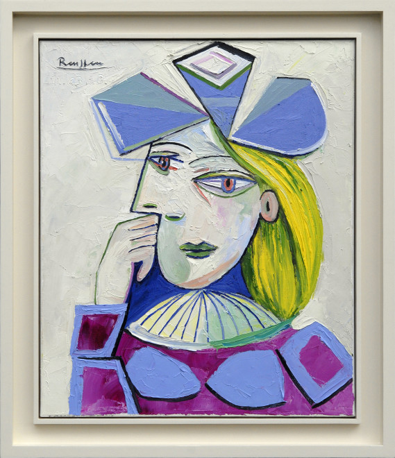 Woman in a blue hat