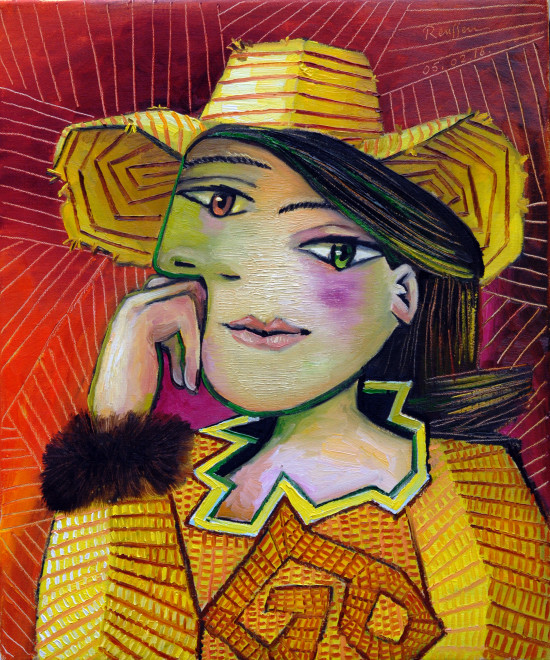Woman in a yellow hat