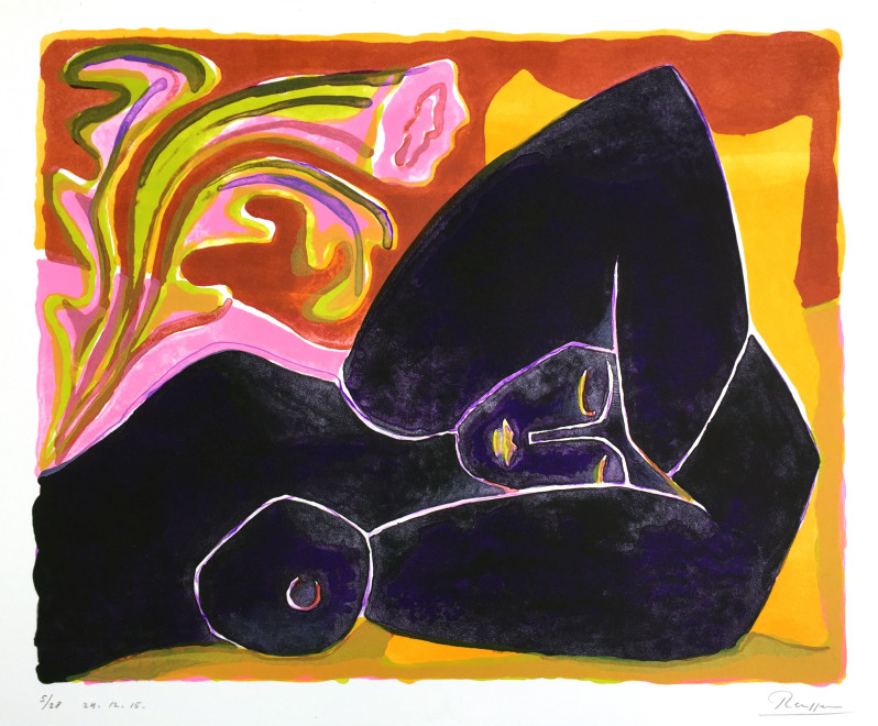 Reclining nude with flower II