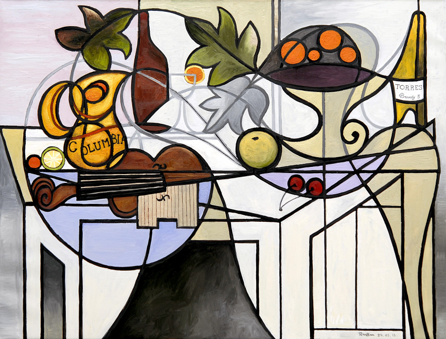 Still life with oranges, cherries and sangria