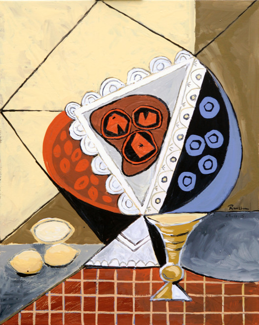 Still life with fruit bowl, lemons and glass