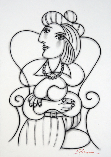 Seated woman in a striped dress
