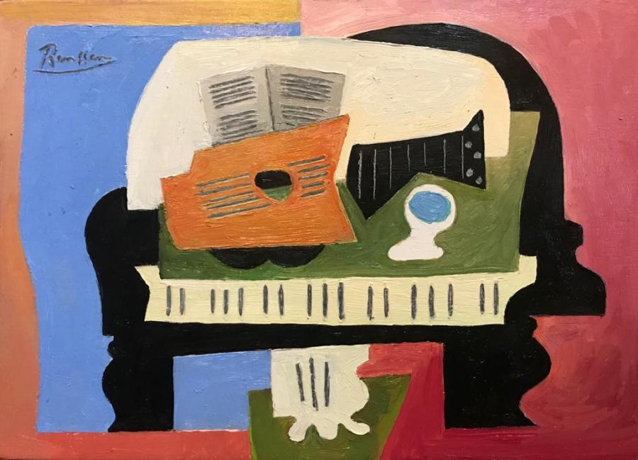 Guitar, glass and sheet music on a piano