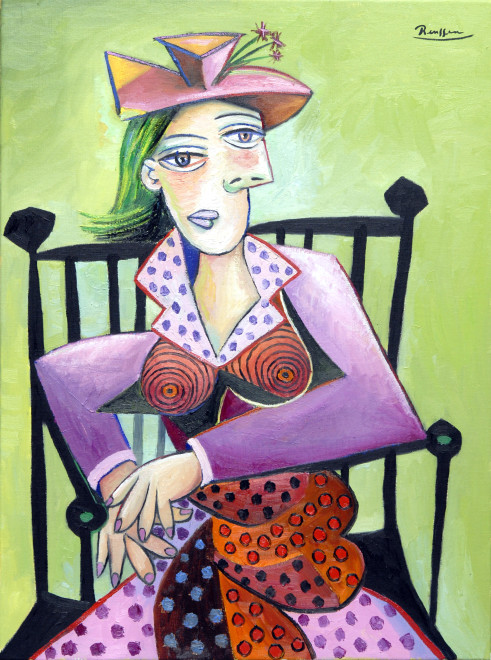 Seated Woman in polka dot dress