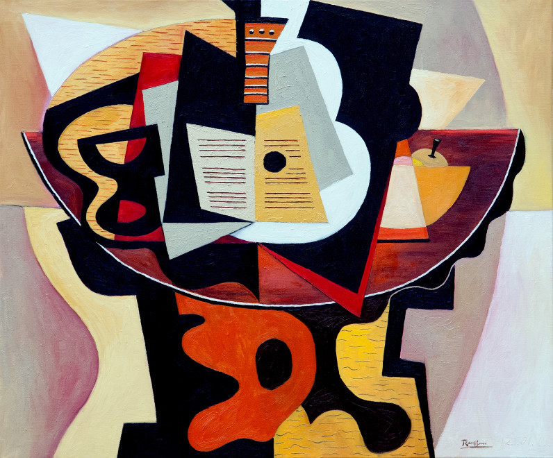 Guitar, sheet music, glass and fruit bowl