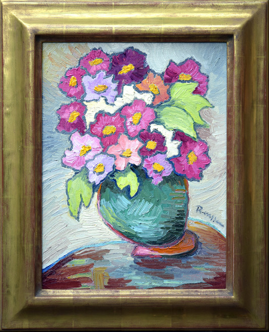 Flowers in a green pot