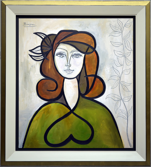 Woman with leaves in her hair