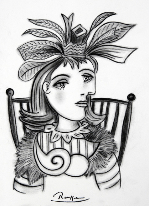 Seated woman in a feathered hat