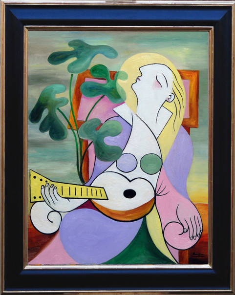 Seated woman with guitar